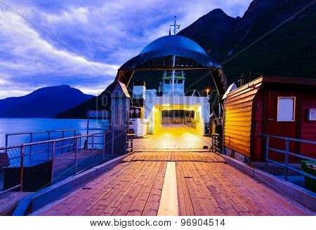 Ferry in fjord Hardanger Norway - nature and travel background poster
