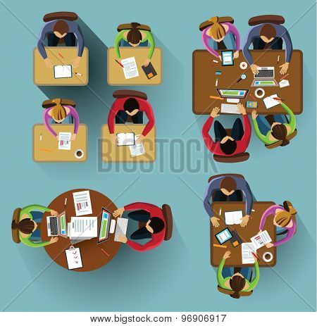 Set of images. People siting from the table top view.
