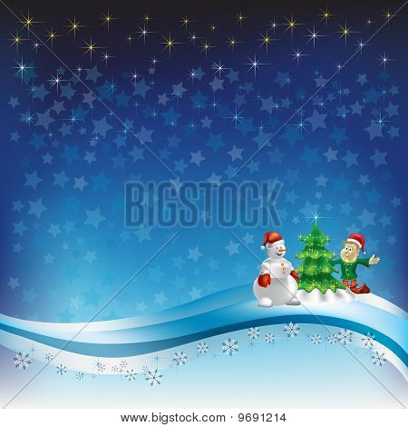 Christmas Greeting With Snowman And Dwarf