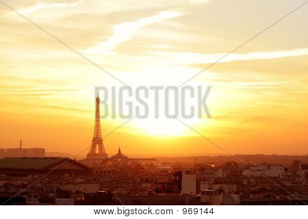 Paris Neighborhood At Sunset