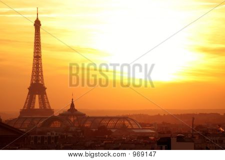 Paris Effel Panoramic View At Sunset