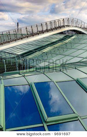 Foot bridge Over Modern Glass Roof