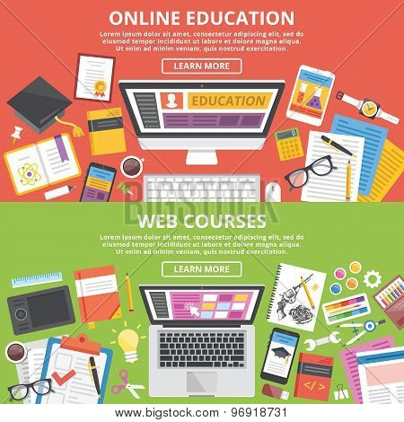 Online education, web courses flat illustration concepts set