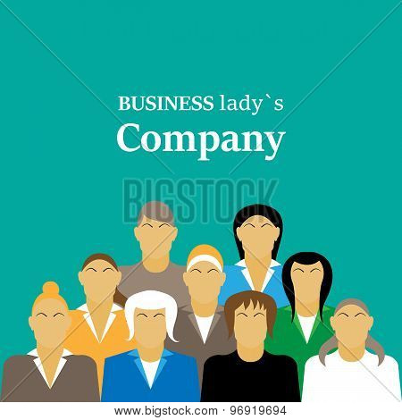 Daily Standup Meeting With Project Team And Manager. Flat Illustration. Woman Company