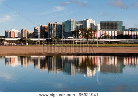 Skyline with Hotels of Brasilia Reflected in Water
