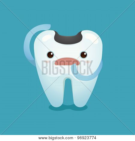 Decay tooth unhappy of dental vector design poster