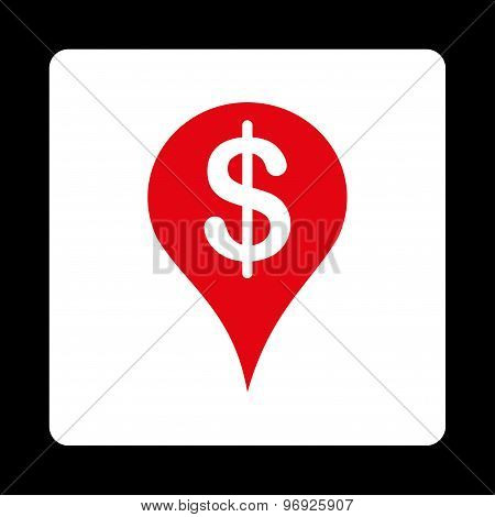 Placement icon. This flat rounded square button uses red and white colors and isolated on a black background. poster