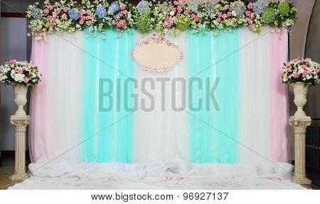 Beautiful of green backdrop flowers arrangement background.