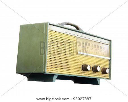 Old radio isolated over white background clipping path
