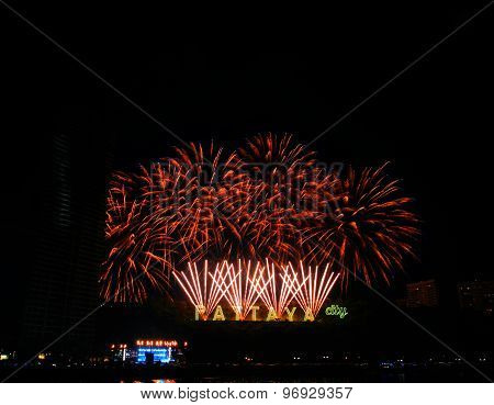 PATTAYA THAILAND - Countdown 2015 January 1 2015 in Balihy foreland South Pattaya Pattaya City Chonburi Thailand.