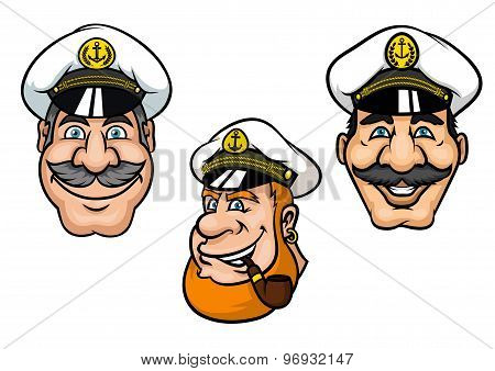 Ship captains in cartoon style with cheerful smiling men with gray moustaches, with white peaked caps and tobacco pipe for nautical mascot or tattoo design poster