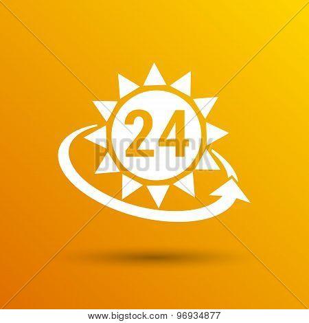 clock in yellow sun vector illustration sun vector day illustration