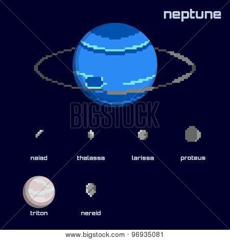 Retro minimalistic set of Neptune and moons