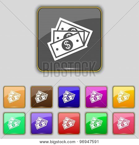 U.s Dollar Icon Sign. Set With Eleven Colored Buttons For Your Site. Vector