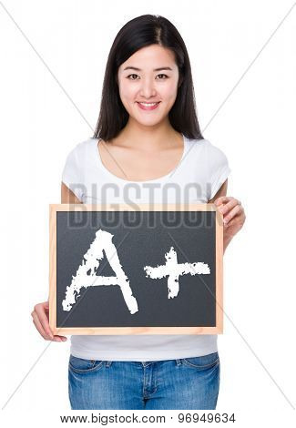 Student with chalkboard showing A plus mark