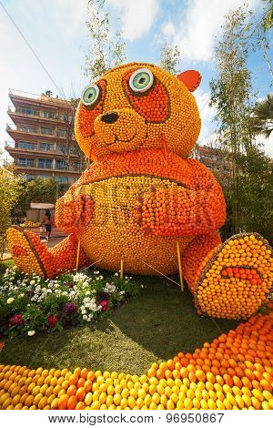MENTON FRANCE - FEBRUARY 20: Panda bear made of oranges and lemons on Lemon Festival (Fete du Citron
