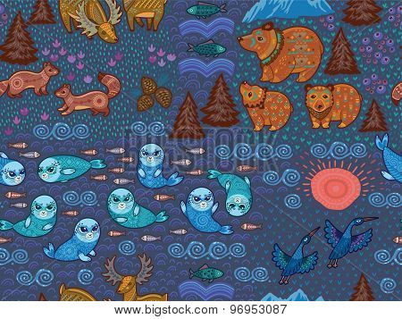 Decorative seamless pattern with wild animals from National park. Deer, bears, sables, cranes, seals