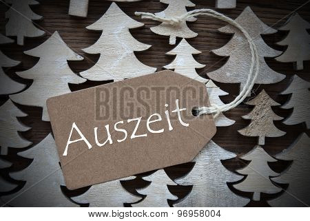 Brown Christmas Label With Auszeit Means Downtime