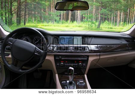 Interior Of A Modern New Sports Car.