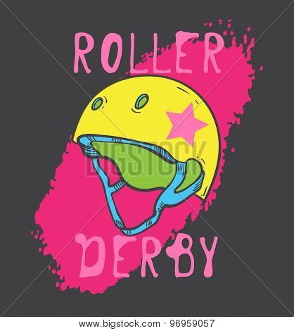 Roller skate and roller derby graphic design for t-shirt