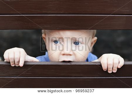 Little Sad Boy Looking Out Through Fence
