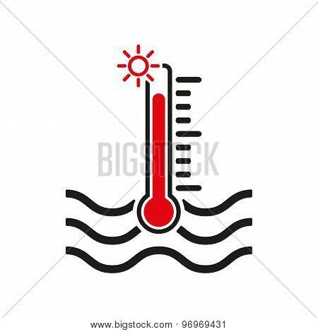 The warm water temperature icon. Hot liquid symbol. Flat
