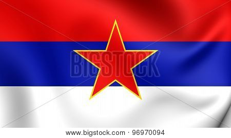 3D Flag of the Socialist Republic of Serbia (1943-1992). Close Up. poster