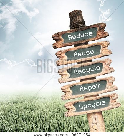 Wooden Sign With Reduce, Reuse, Recycle, Repair And Upcycle Wording Ecology Concept.