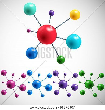set abstract colored balls on a gray background. vector illustration eps10