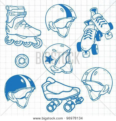 Set of roller skates, helmets, wheel. Sketch
