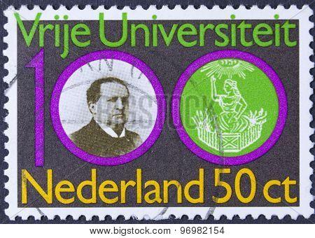 Man on a vintage postage stamp