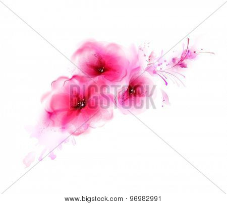 Abstract bouquet with pink flower and design elements
