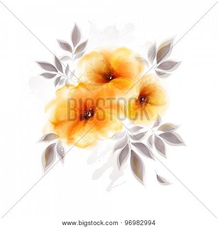Abstract bouquet with flower and design elements