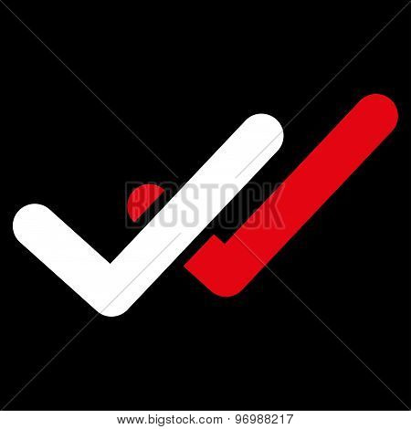 Validation icon from Business Bicolor Set. This flat vector symbol uses red and white colors, rounded angles, and isolated on a black background. poster