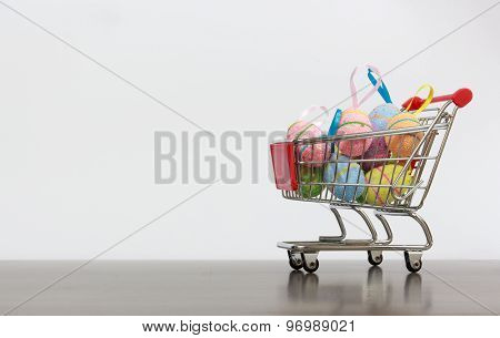 Shopping Basket With Easter Eggs