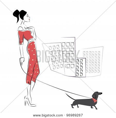 Girl walking her  pet