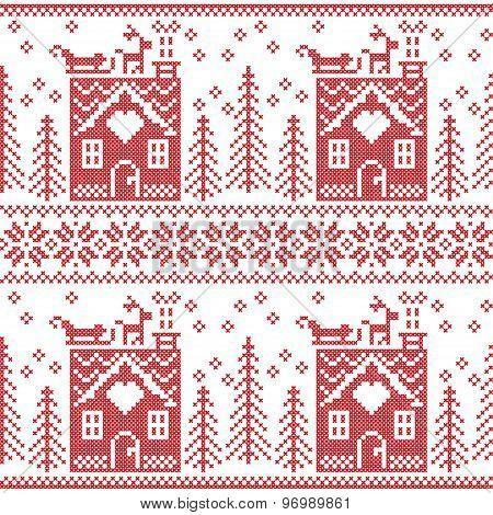 Scandinavian Nordic Christmas seamless  pattern with gingerbread house, snow, reindeer, Santa's  sle