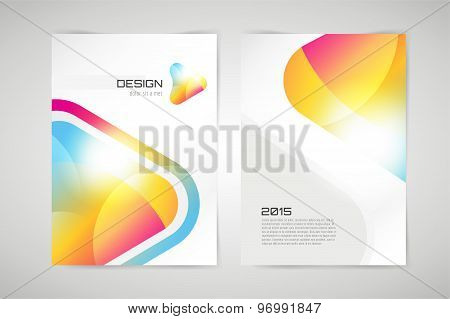 Vector brochure template. Abstract arrow design and creative identity idea, blank, paper. Stock illu