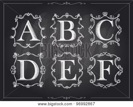 Blackboard chalk vintage calligraphic letters in monogram retro frames, alphabet logos set - A, B, C, D, E, F