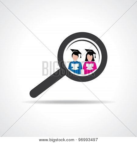 graduate student in a magnifier icon stock vector