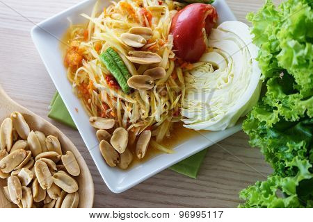 Thai Green Papaya Salad Called Som Tum