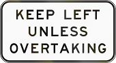 Australian regulatory sign - End keep left unless overtaking poster