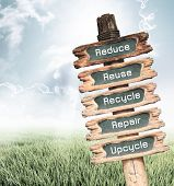 Vintage wooden sign with Reduce Reuse Recycle Repair and Upcycle wording on nature background ecology concept. poster