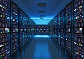 Server room interior in datacenter in blue light poster