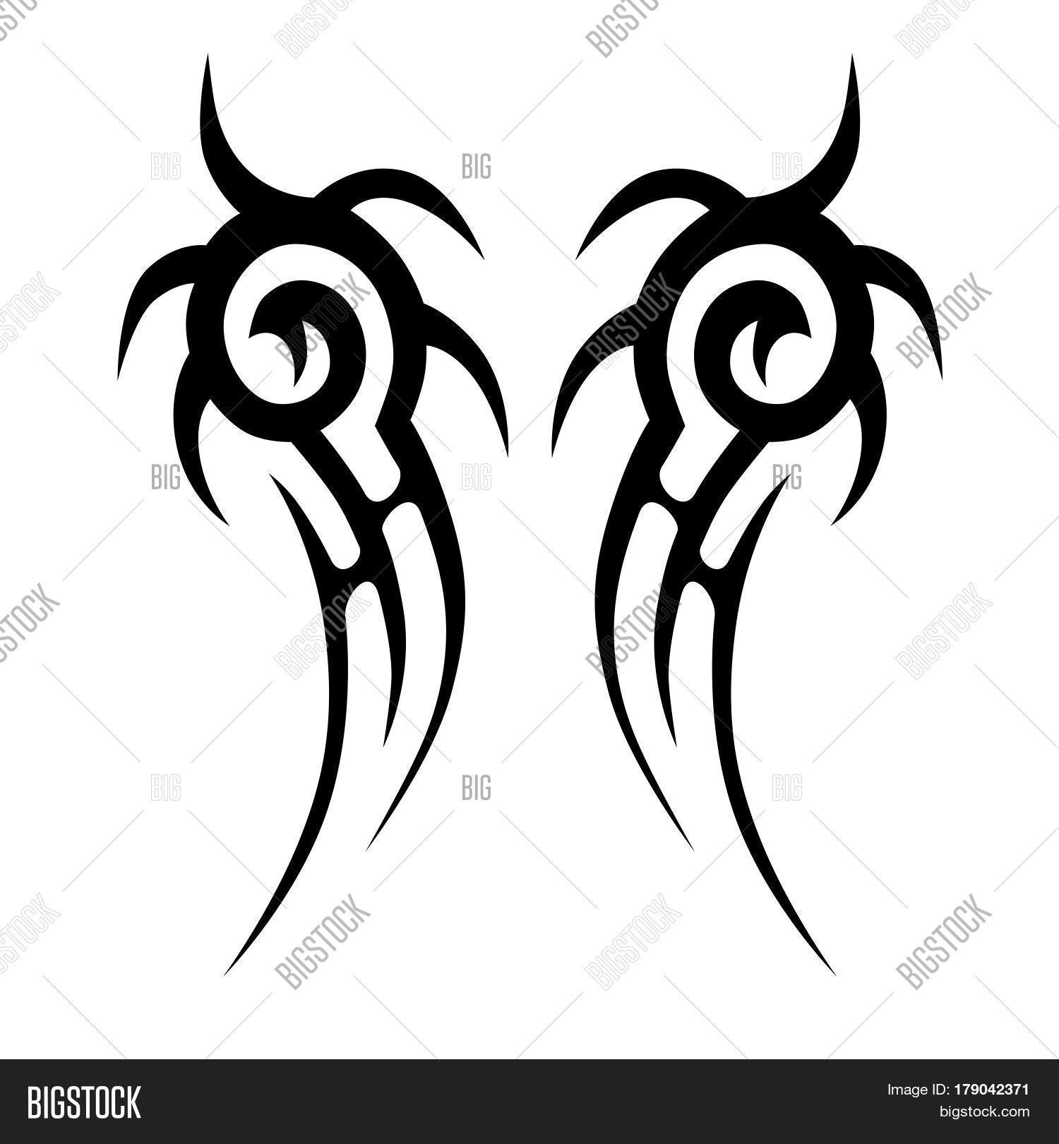 Tattoo tribal design swirl sketch vector isolated tribal chest