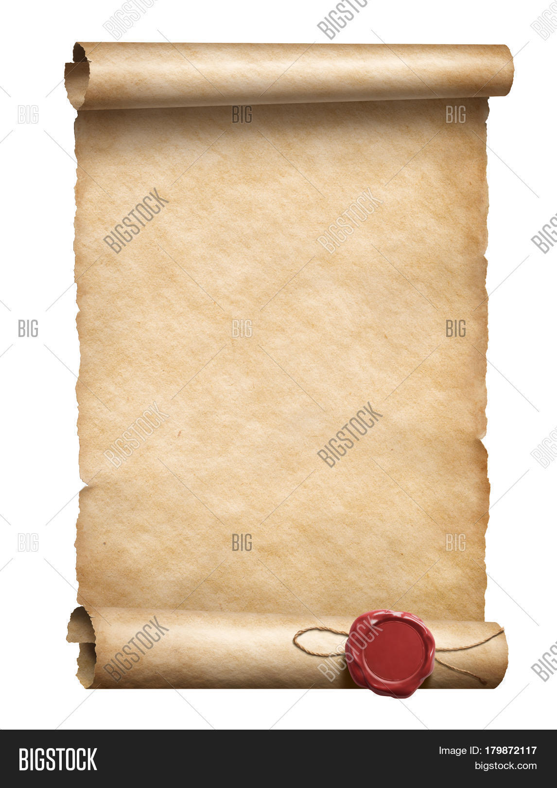 3d Scroll Of Parchment Photo: Scroll Wax Seal 3d Image & Photo (Free Trial)