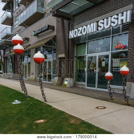 Richmond Canada - March 25 2017 Business street with cafe and stores