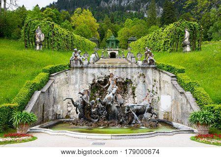 Cascade, Neptune Fountain And Pavilion. Linderhof Palace, Bavaria, Germany.