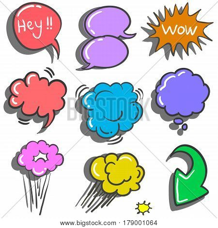 Vector illustration speech bubble doodles collection stock