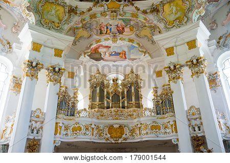 The Pipe Organ In Pilgrimage Church Of Wies. Bavaria, Germany.